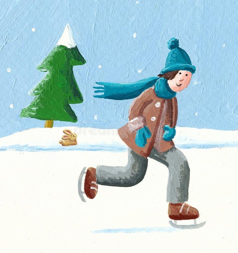 Pojke som glider på vinterskridskor vektor illustrationer