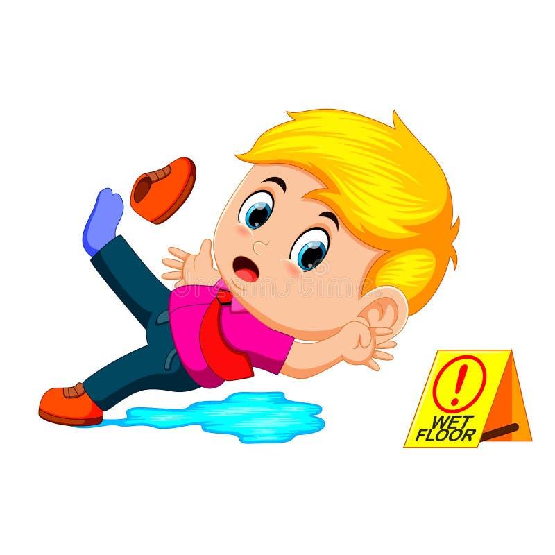 Pojke som halkar på vått golv royaltyfri illustrationer