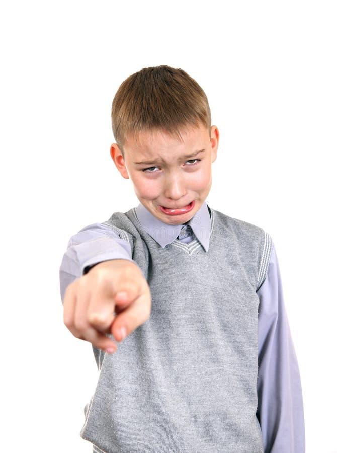 Pojke som har ett agg fotografering för bildbyråer