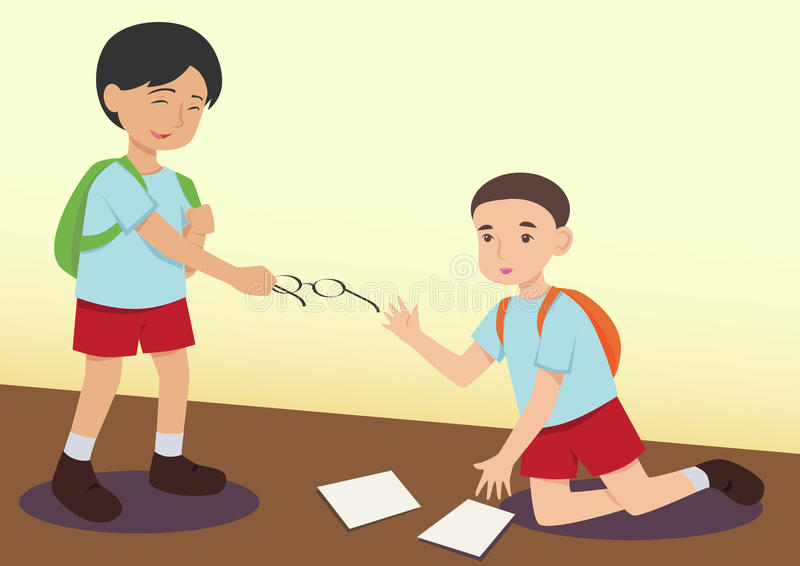 Pojke som hjälper andra för att lura stock illustrationer