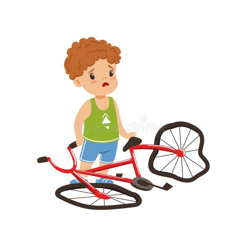 Pojke som känner sig olycklig med hans brutna vektorillustration för cykel på en vit bakgrund vektor illustrationer