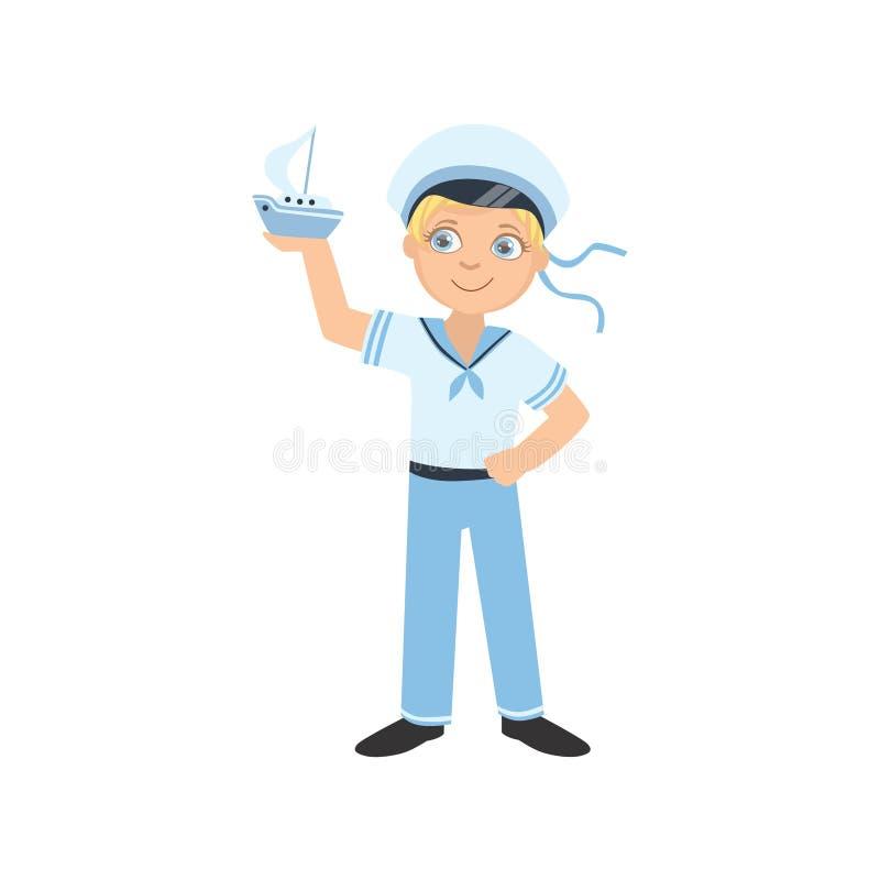 Pojke som kläs som sjömannen Holding Toy Boat stock illustrationer
