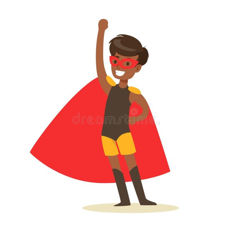 Pojke som låtsar för att ha den iklädda svarta Superherodräkten för toppen överhet med röd udde och för att maskera att le tecken royaltyfri illustrationer