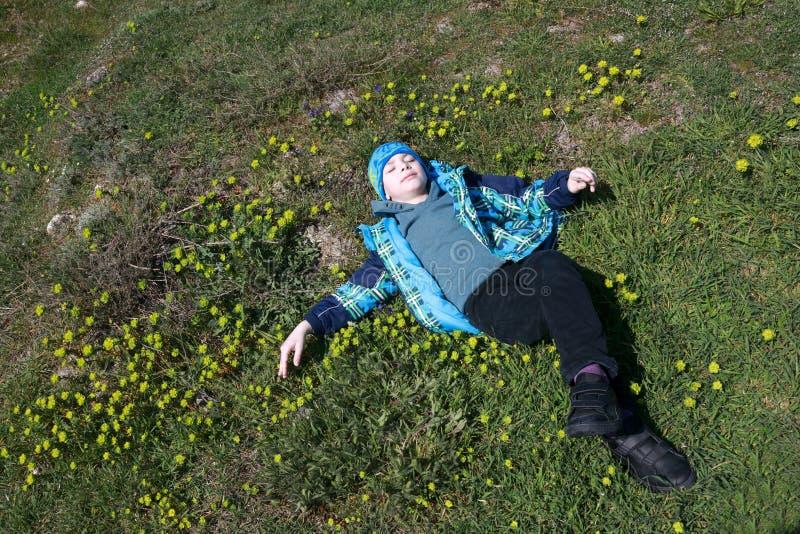 Pojke som ligger på hans baksida i äng arkivfoton