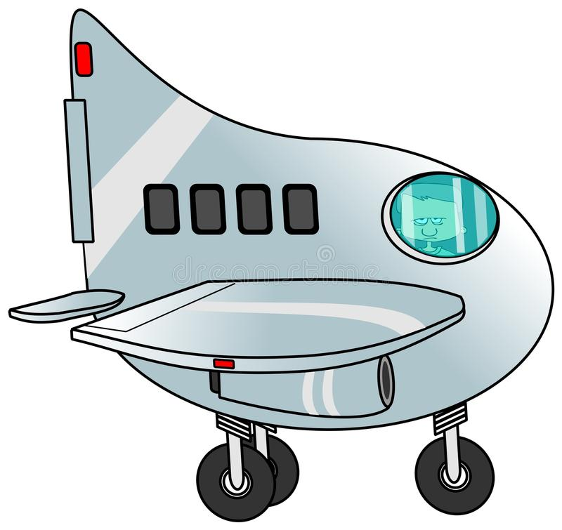 Pojke som lotsar en jet royaltyfri illustrationer