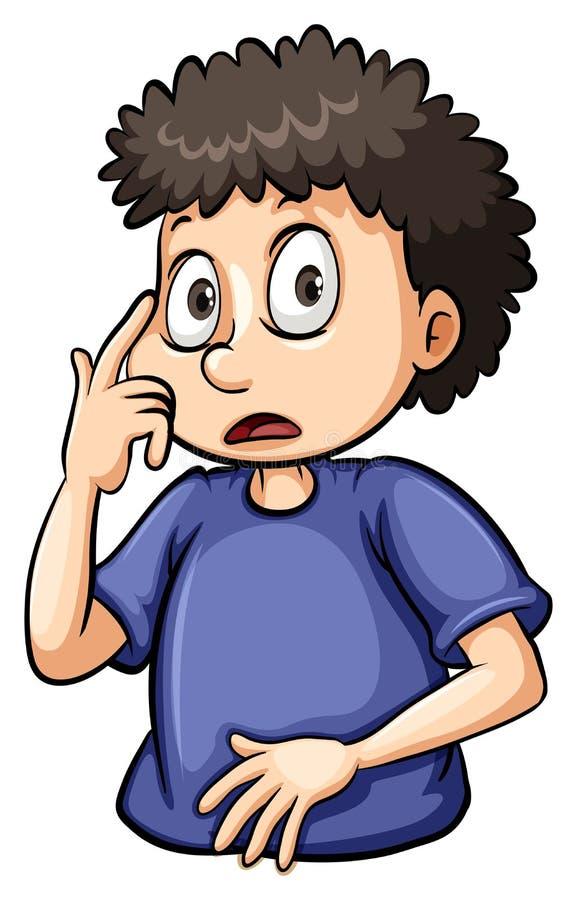 Pojke som pekar på hans öga stock illustrationer