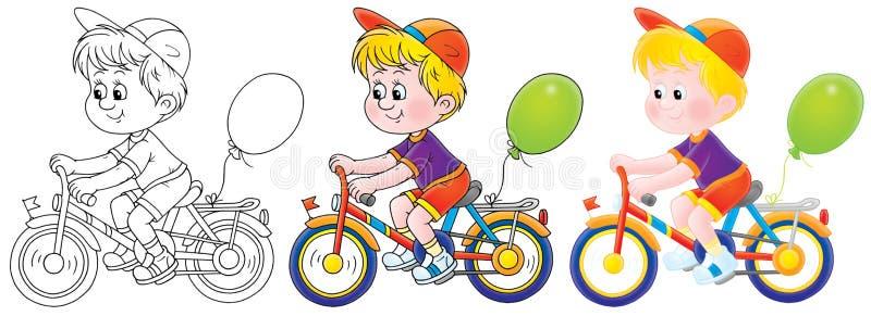 Pojke som rider en cykel royaltyfri illustrationer