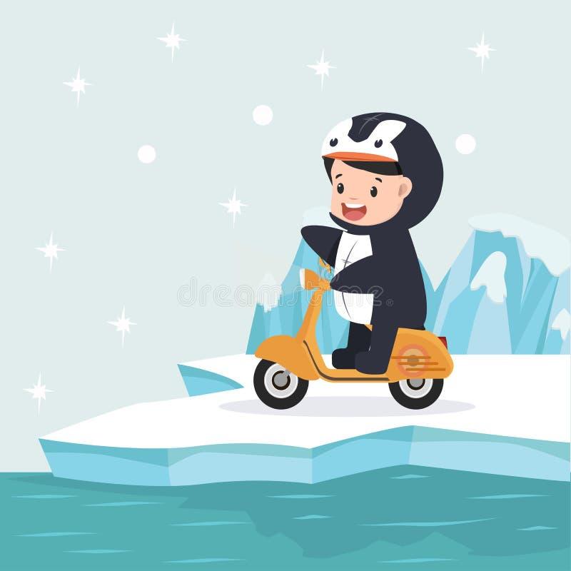Pojke som rider en gul sparkcykel i nordpolenarktisk stock illustrationer