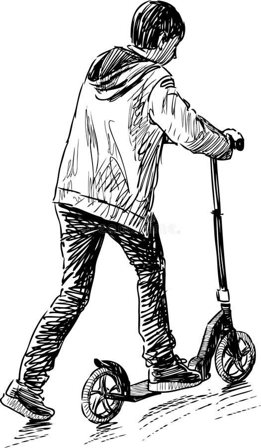 Pojke som rider en sparkcykel vektor illustrationer