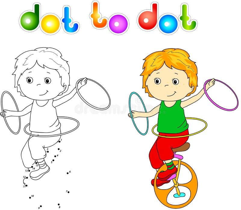 Pojke som rider en unicykle och jonglerar pricken för att pricka vektor illustrationer