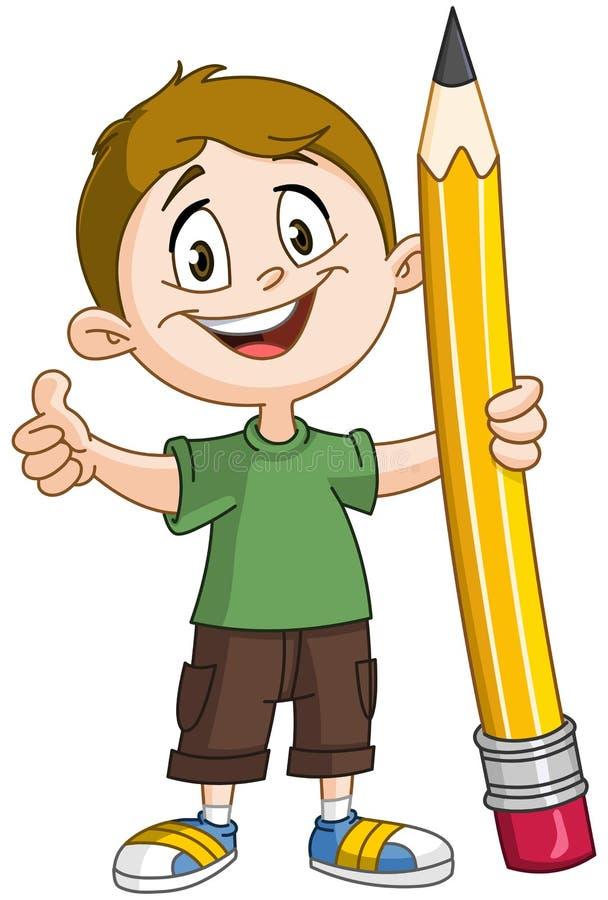 Pojke som rymmer den stora blyertspennan stock illustrationer