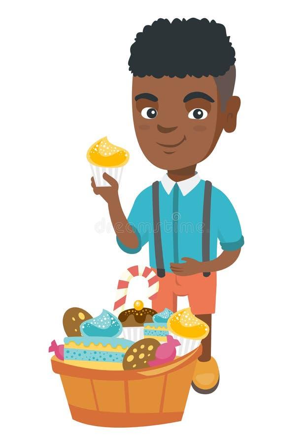 Pojke som rymmer en muffin och slår hans buk stock illustrationer