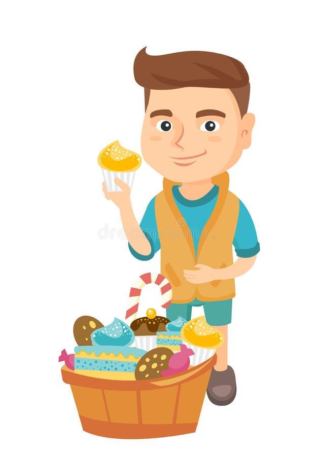 Pojke som rymmer en muffin och slår hans buk royaltyfri illustrationer