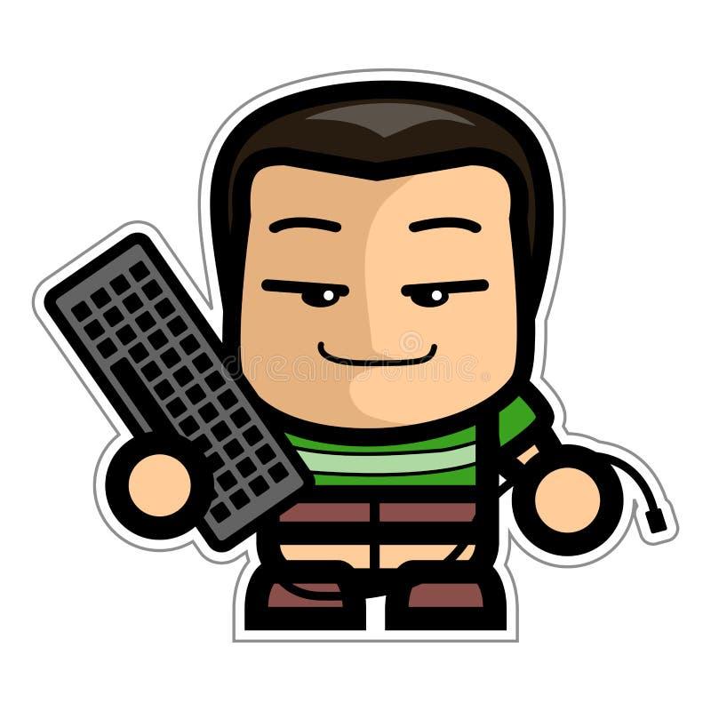 Pojke som rymmer ett tangentbord stock illustrationer