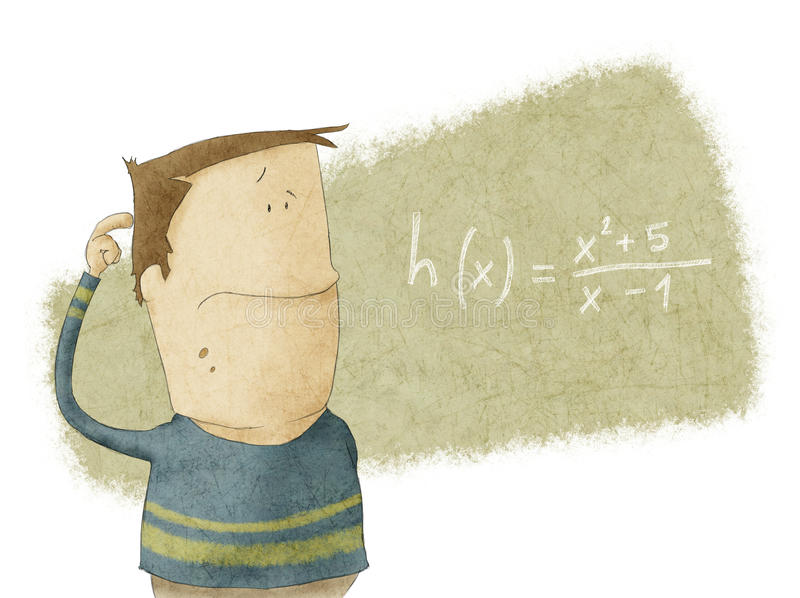 Pojke som ser mathproblem royaltyfri illustrationer