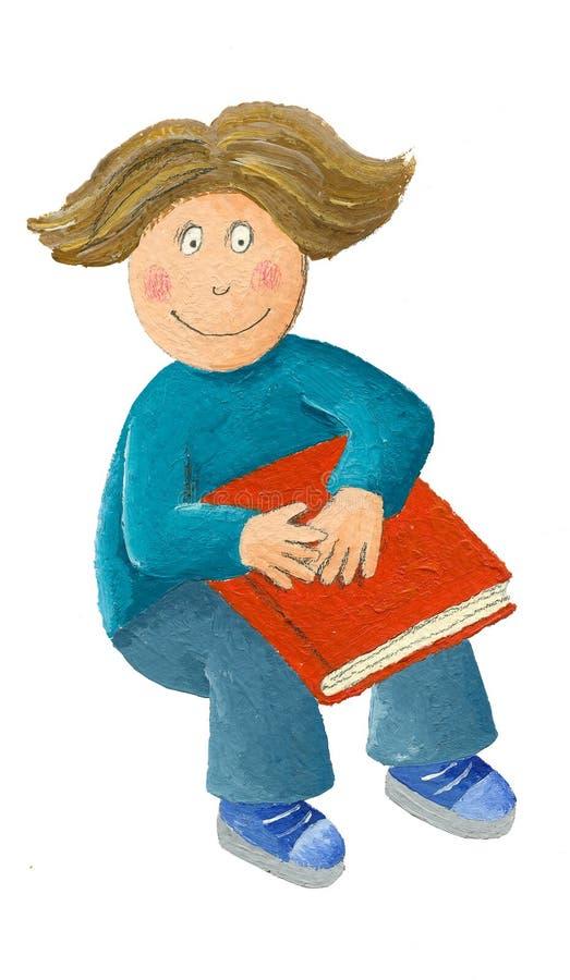 Pojke som sitter på golvet med en bok stock illustrationer