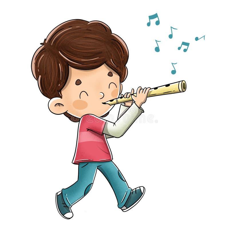 Pojke som spelar flöjten, medan gå vektor illustrationer