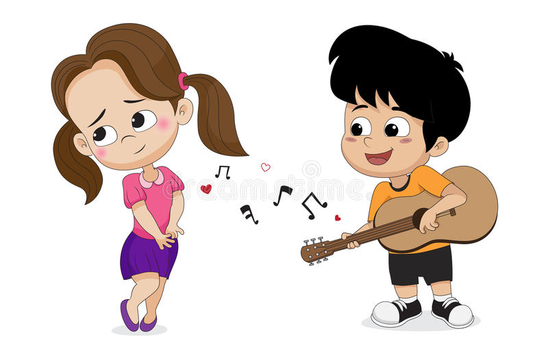 Pojke som spelar gitarren för flicka i valentindag vektor illustrationer