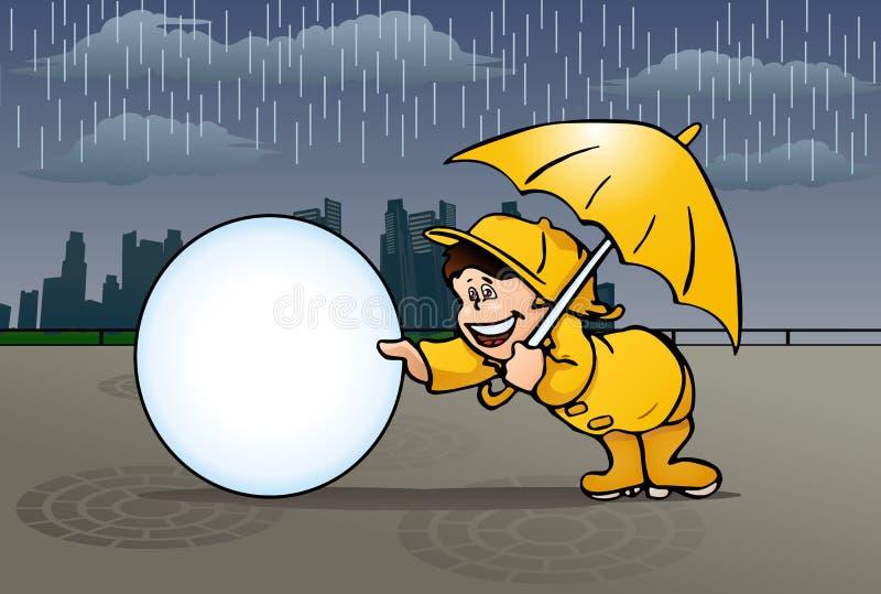 Pojke som spelar i regnet stock illustrationer