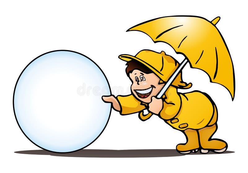 pojke som spelar i regnet på isolerad vit vektor illustrationer