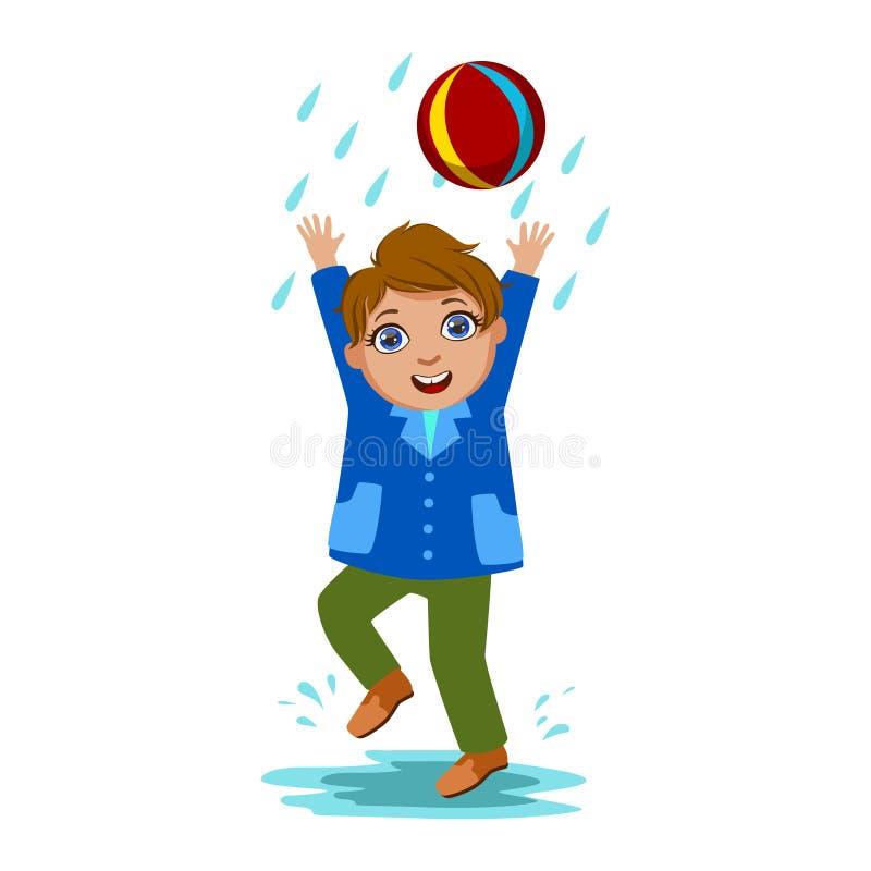 Pojke som spelar med bollen, ungen i Autumn Clothes In Fall Season Enjoyingn regn och regnigt väder, färgstänk och pölar royaltyfri illustrationer