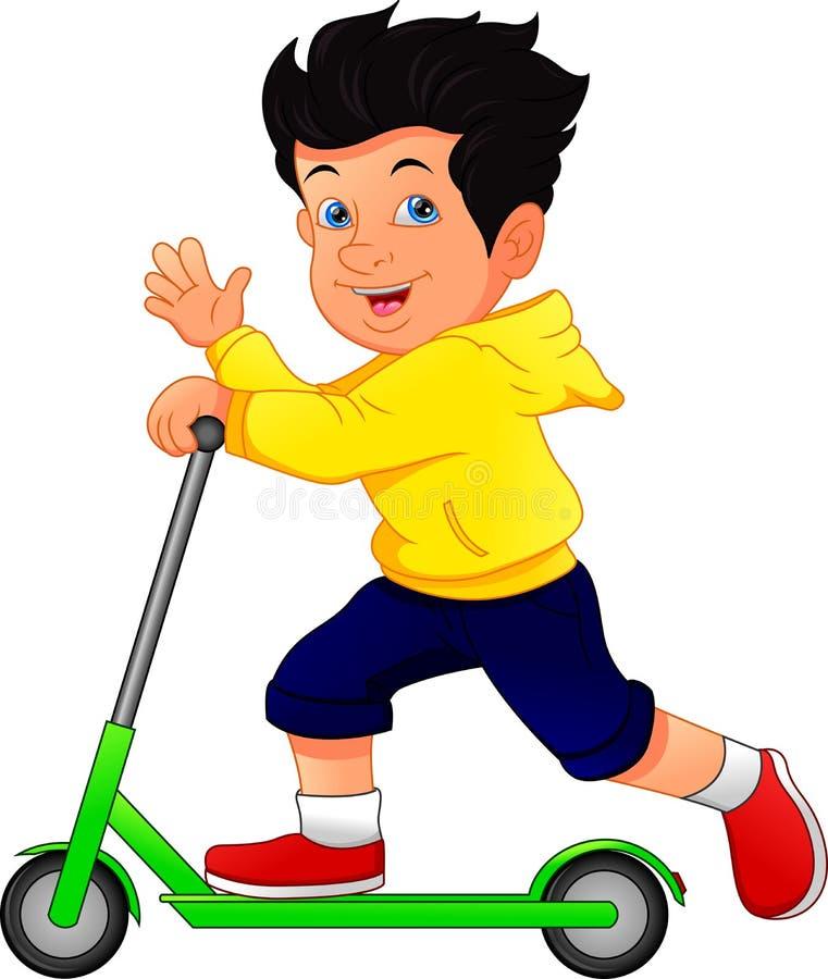 Pojke som spelar sparksparkcykeln på vit bakgrund stock illustrationer