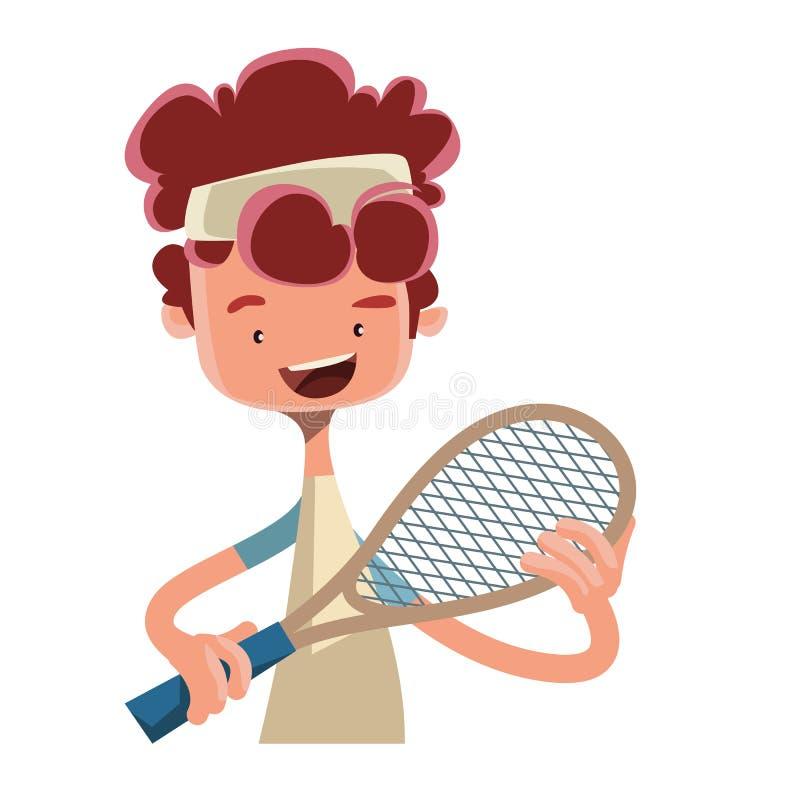 Pojke som spelar tennis med teckenet för racketillustrationtecknad film stock illustrationer