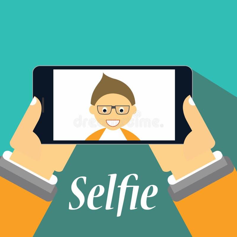 Pojke som tar en selfie på hans smartphone stock illustrationer