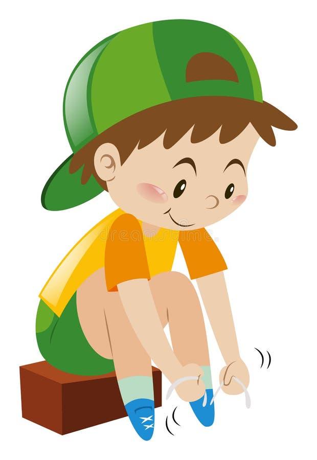 Pojke som tiding hans skosnöre royaltyfri illustrationer