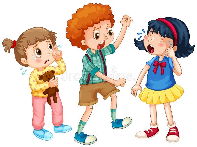 Pojke som trakasserar annan ungar vektor illustrationer