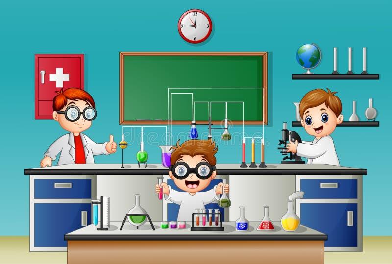 Pojke som tre gör experiment i labbet vektor illustrationer