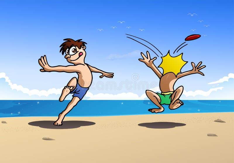 Pojke som två spelar frisbeen vektor illustrationer