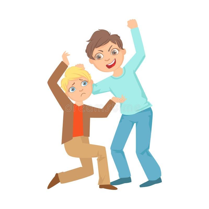 Pojke som upp slår den tonårs- översittaren för mindre unge som visar den busiga obetvingliga tecknade filmen för brottsligt uppf stock illustrationer