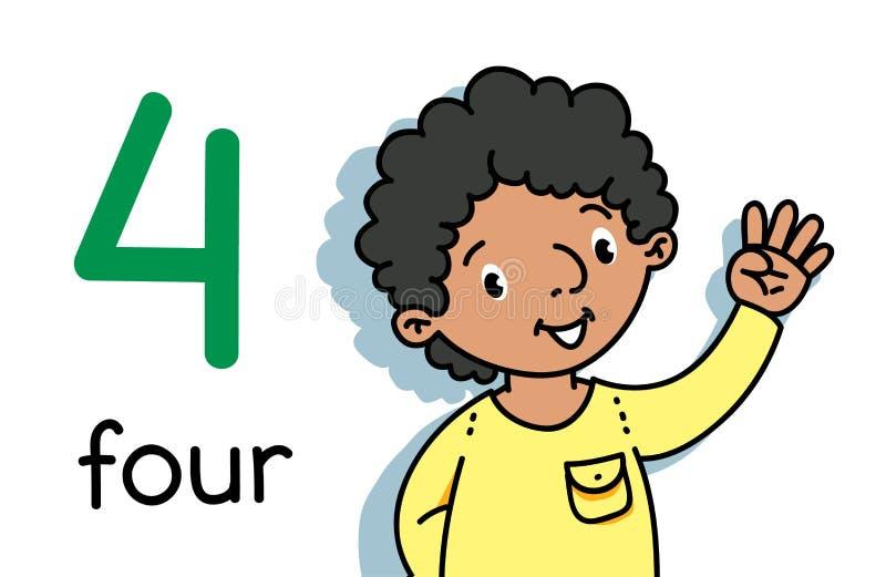 Pojke som visar fyra av handen som r?knar utbildningskort 4 vektor illustrationer