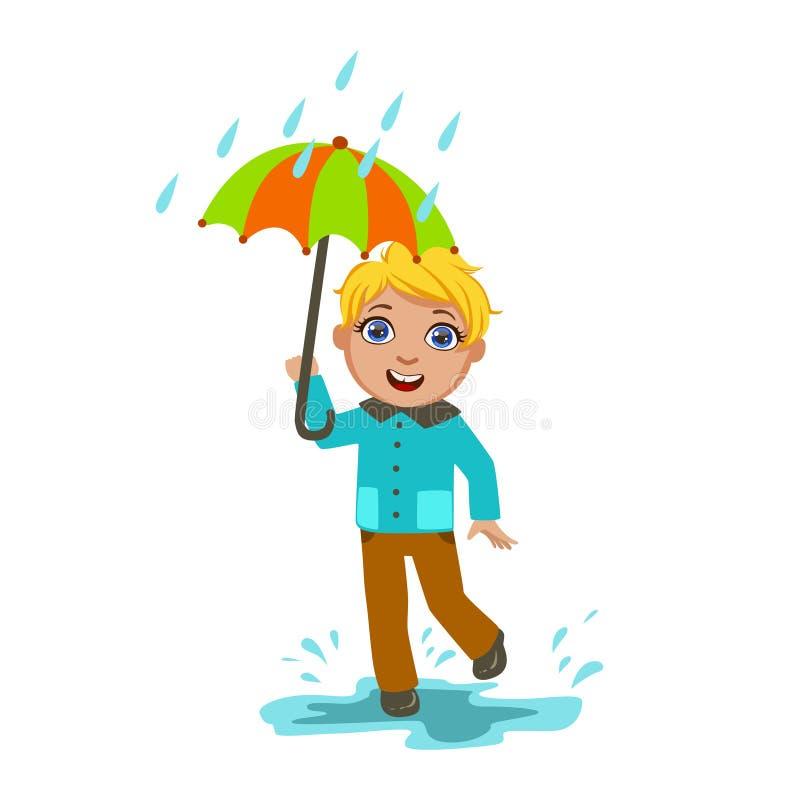 Pojke under regndroppar med paraplyet, ungen i Autumn Clothes In Fall Season Enjoyingn regn och regnigt väder, färgstänk och vektor illustrationer