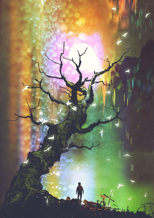 Pojkeanseende under det kala trädet med den ljusa bollen över royaltyfri illustrationer