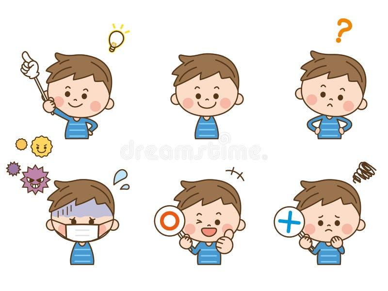 Pojkeansiktsuttryck royaltyfri illustrationer