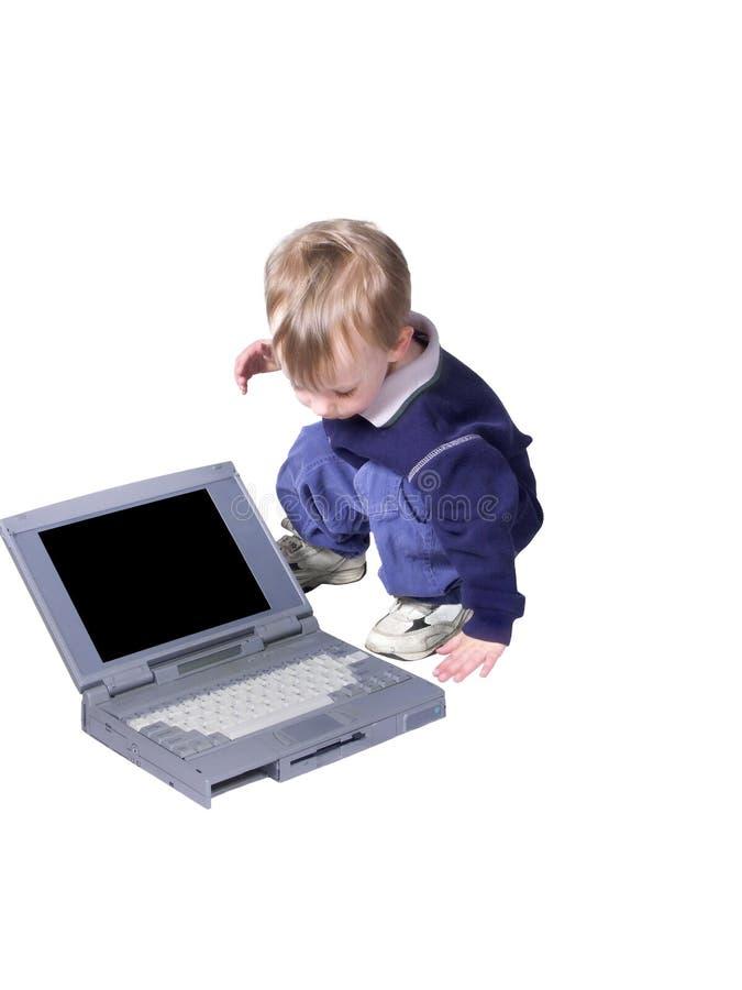 pojkebärbar dator arkivbilder