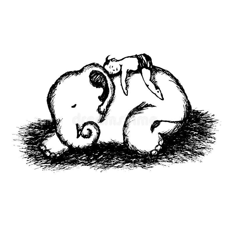 Pojkebarnet och behandla som ett barn drog illustrationen för elefantvektorn handen stock illustrationer
