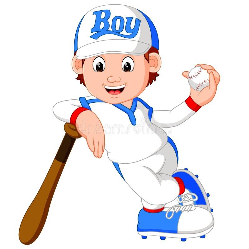 Pojkebasebollspelare vektor illustrationer