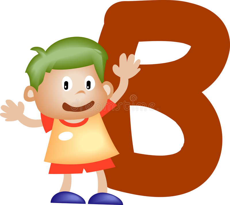 pojkebokstav för alfabet b stock illustrationer
