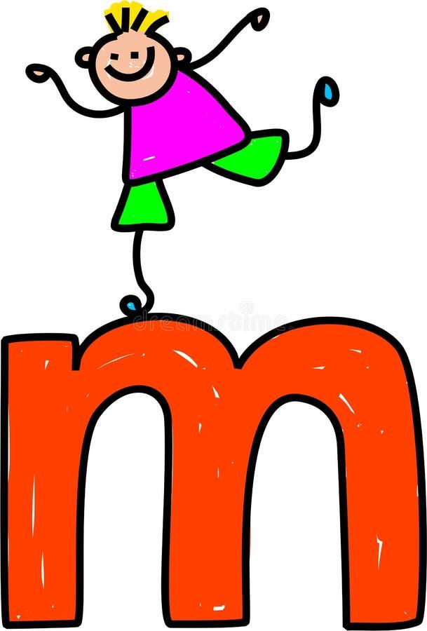 pojkebokstav M royaltyfri illustrationer