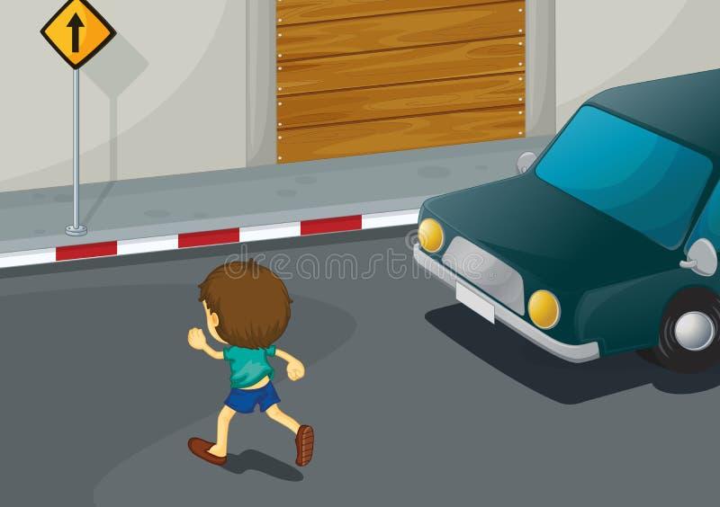 pojkecrossingväg stock illustrationer