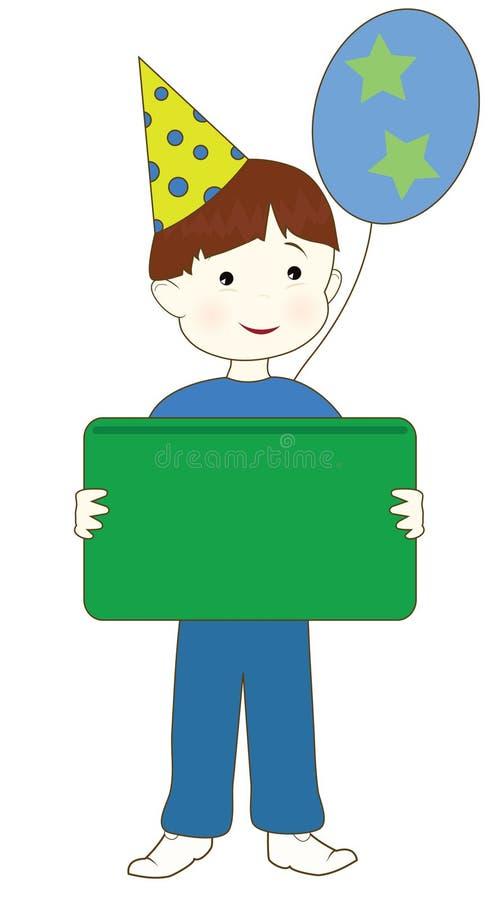 pojkedeltagaresignage vektor illustrationer