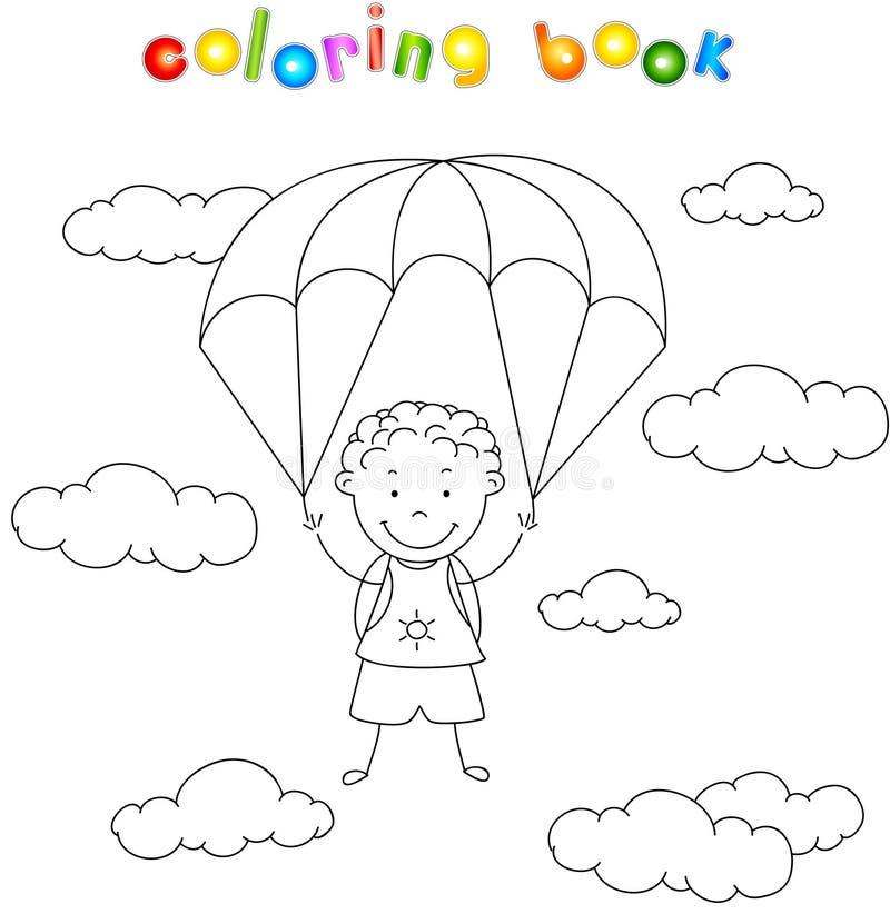 Pojkefallskärmshopparen stiger ned från himlen på en hoppa fallskärm till och med vektor illustrationer