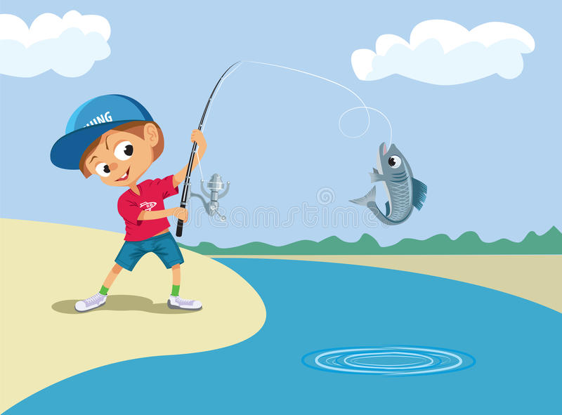 Pojkefiske i en flod vektor illustrationer