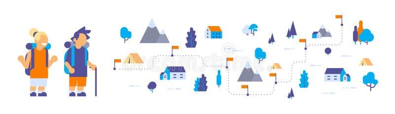 Pojkeflickabarn spanar vilar lägret som fotvandrar lägenheten för begreppet för expedition för ryggsäckskogloppet den isometriska stock illustrationer
