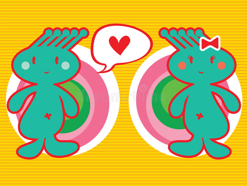 pojkeflickan älskar spunky vektor illustrationer