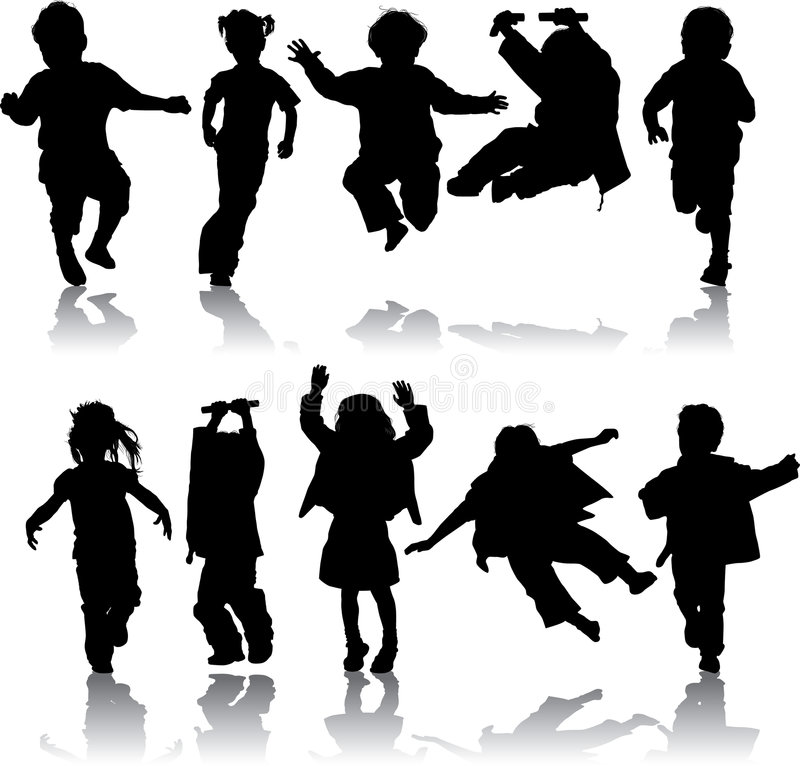 pojkeflickor silhouette vektorn stock illustrationer