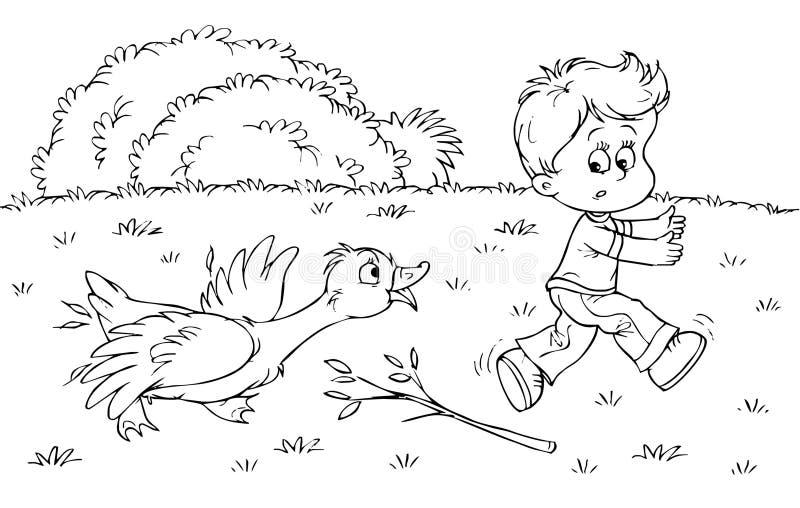 pojkegås royaltyfri illustrationer